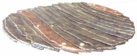 Smeedijzeren schaal met koperen stroken, size 50 cm, smeedobjecten, Annelied,